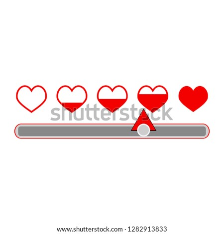 Indicator measurement love compatibility Valentine's Day. Illustration of love thermometer and love test, full heart, meter concept