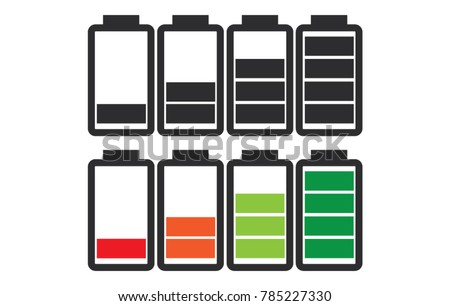 Indicator of battery level charger from empty to full charged set in color and black