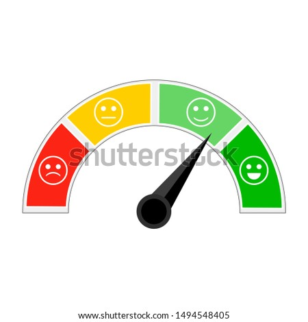 Indicator of credit afford, indicating level trust. Credit score for get loan and mortgage. Colorful metering with different smiles sad and happy. Vector illustration