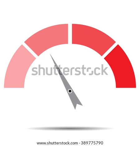 Indicator red with pointer needle. Index and pointer, arrow indicator, measure and infographics, control technology, measurement spectrum, power panel. Vector abstract flat design illustration