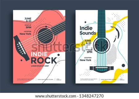 Indie Rock Poster design template with the stylized acoustic guitar. Music festival pop punk flyer design in minimalist style. Foto stock ©