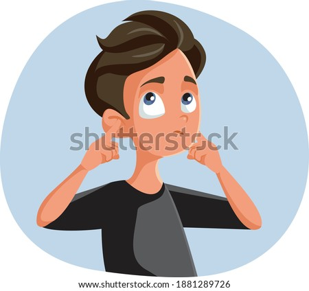 Indifferent Teen Boy Covering His Ears. Rebel Teenager blocking communication ignoring and misbehaving  Foto d'archivio ©