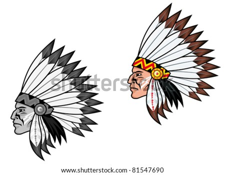 Indigenous people in national costume for tattoo design, such a logo. Jpeg version also available in gallery - stock vector