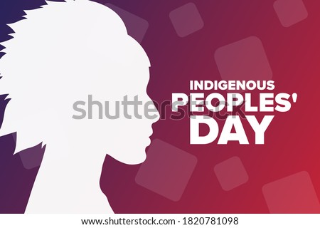Indigenous Peoples Day. Holiday concept. Template for background, banner, card, poster with text inscription. Vector EPS10 illustration Photo stock ©