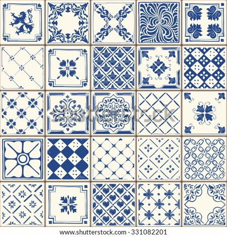 indigo blue flower azulejos...