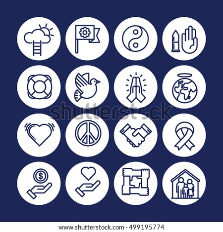 Indigo color Set of vector icon graphic for Humanitarian