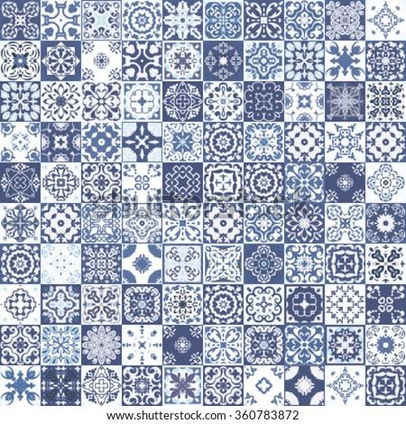 indigo floral patchwork tile