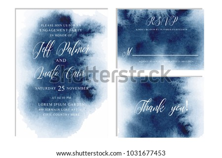 Indigo, navy blue wedding set with beautiful hand drawn watercolor background. Includes Invintation, rsvp and thank you cards templates. Vector
