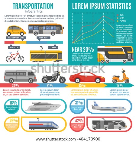 Individual and public transport infographics with bus tram train cars motorbike bicycle  graphs and statistics vector illustration