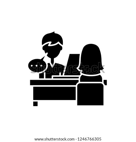Individual consultation black icon, vector sign on isolated background. Individual consultation concept symbol, illustration