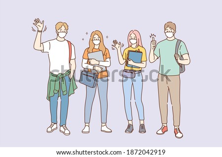 Individual protection from COVID-19 pandemic concept. Group of Students in medical masks standing together, wearing face protective mask against coronavirus infection vector illustration