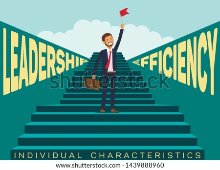 Individual Traits in Job Search Banner Template. Leadership, Efficiency For Career Opportunities. Successful Candidate with Relevant Personal Characteristics. Motivational Company Poster Layout