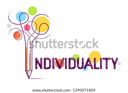 Individual word with pencil instead of letter I, individuality and personality concept, vector conceptual creative logo or poster made with special font.