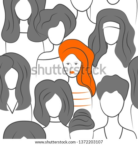 Individuality among сrowd, one woman standing out, uniqueness of  individual. Vector illustration