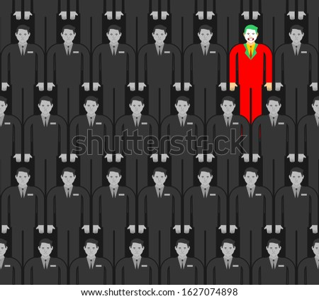 Individuality in gray crowd pattern seamless. Man in bright suit in group people background. Contrasting individual concept