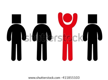 Individuality silhouette.Red silhouette.