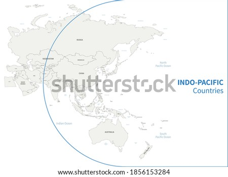 Indo-Pacific country map. RCEP countries vector map. Foto stock ©