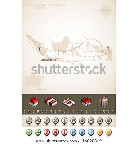Indonesia and Asia maps, plus extra set of isometric icons & cartography symbols set
