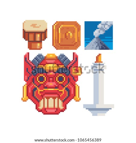 indonesia culture symbols pixel