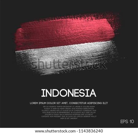 Indonesia Flag Made of Glitter Sparkle Brush Paint Vector