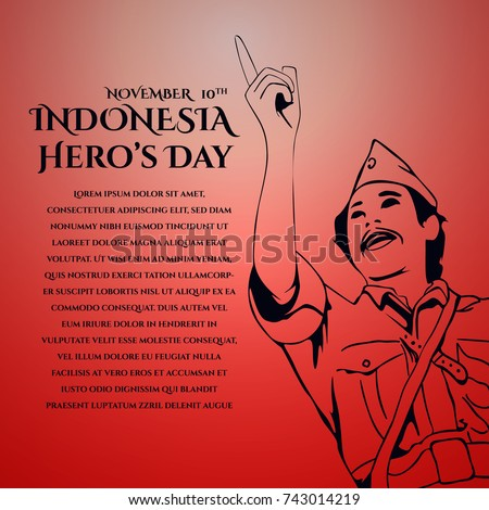Shutterstock Indonesia Hero's Day greeting card, banner design template with text space editable. 10th of November vector illustration.