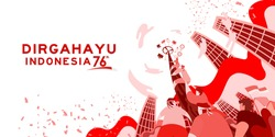 Indonesia independence day 17 august with traditional games concept illustration. 76 tahun kemerdekaan indonesia translates to 76 years Indonesia independence day
