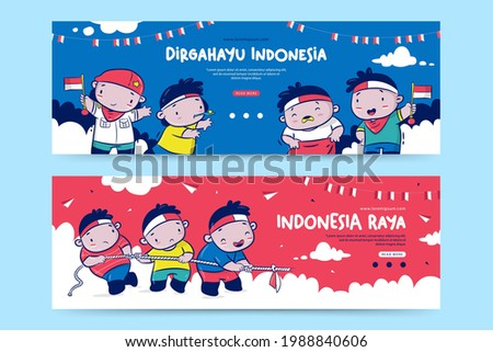 Indonesia Independence day banner template with the cartoon illustration, Dirgahayu means celebration, Raya means great Foto stock ©