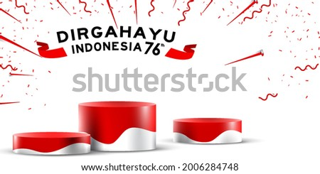 indonesia independence day empty podium display or pedestal display decoration with cylinder stand concept for product and promo. 17 august 76 years of indonesia