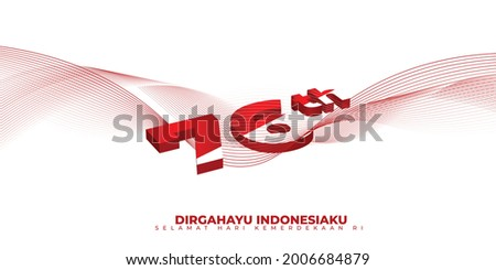 Indonesia Independence day with typography number of 76 for Indonesia's 76th independence. indonesian text mean is longevity indonesia and bottom text mean is Independence day of republic Indonesia. Stock fotó ©