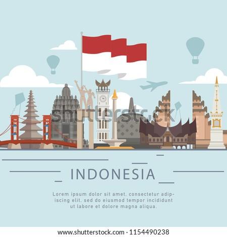 Indonesia landmark building with Indonesia flag