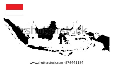 indonesia map and flag vector