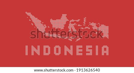 Indonesia map vector illustration. Digital map or peta of indonesia created by squares dot. Red and white indonesia map vector illustration design with halftone dots. Indonesia map background.
