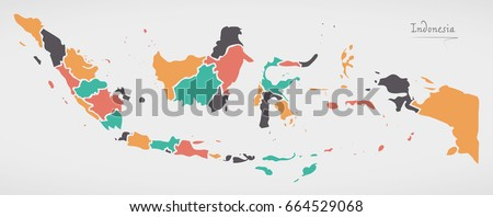 Indonesia Map with states and modern round shapes