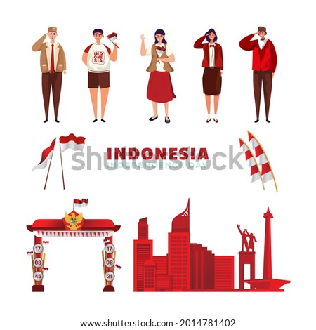 Indonesia's independence day on flat illustration assets vector resources Stock fotó ©