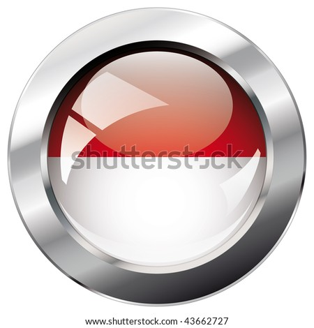 indonesia shiny button flag vector illustration. Isolated abstract object against white background.