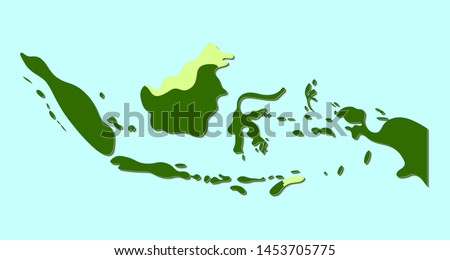 Indonesia Vector Map with Soft Edge Style. Isolated Vector Illustration