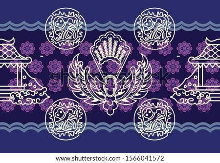 Indonesian batik motifs with very unique patterns of gurda, pendapa, and plants Zdjęcia stock ©
