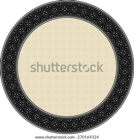Indonesian batik style inspired, circle frame, with solid inner background pattern