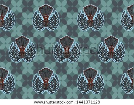Indonesian batik typical design, combination of kawung and gurda motifs in shades of repetition and abstract Zdjęcia stock ©