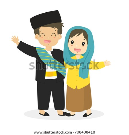 indonesian boy and girl wearing
