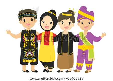 indonesian children, boys and girls wearing traditional dress cartoon vector