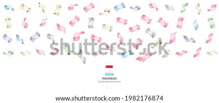 Indonesian Falling Rupiah Vector Illustration, Indonesia money rain set bundle banknotes Foto d'archivio ©