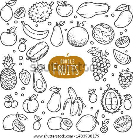 Indonesian foods and snack doodle drawing collection. Food and snack such as lumpia, lemper, onde-onde, tempe, jenang, lupis, gethuk, pastel, risole, jajan pasar etc. Hand drawn doodle illustration