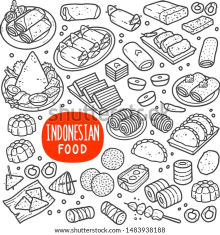Indonesian foods and snack doodle drawing collection. Food and snack such as lumpia, lemper, onde-onde, tempe, jenang, lupis, gethuk, pastel, risole, jajan pasar etc. Hand drawn doodle illustration.