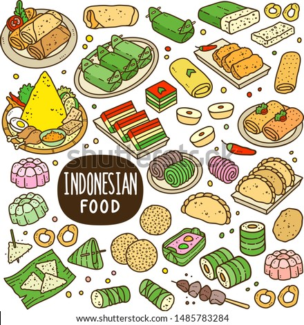 Indonesian foods and snack doodle drawing collection. Food and snack such as lumpia, lemper, onde-onde, tempe, jenang, lupis, gethuk, pastel, risole, jajan pasar etc. Colorful doodle illustration.