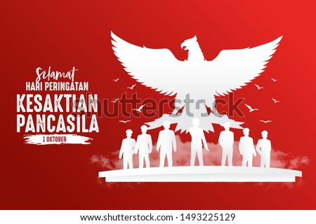 Indonesian Holiday Pancasila Day Illustration.Translation: October 01, Happy Pancasila day. Suitable for greeting card, poster and banner