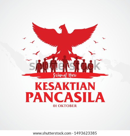 Indonesian Holiday Pancasila Day Illustration.Translation: October 01, Happy Pancasila day. Suitable for greeting card