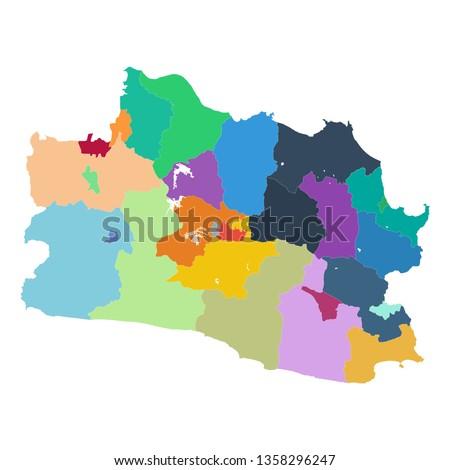 Indonesian province of Jawa Barat map vector