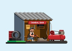 Indonesian tyre repair shop aka Tambal Ban concept in cartoon flat illustration vector