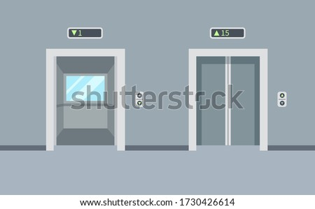 Indoor and outdoor empty elevators in the building. Elevator doors, open and closed. Vector illustration in a trendy flat style.